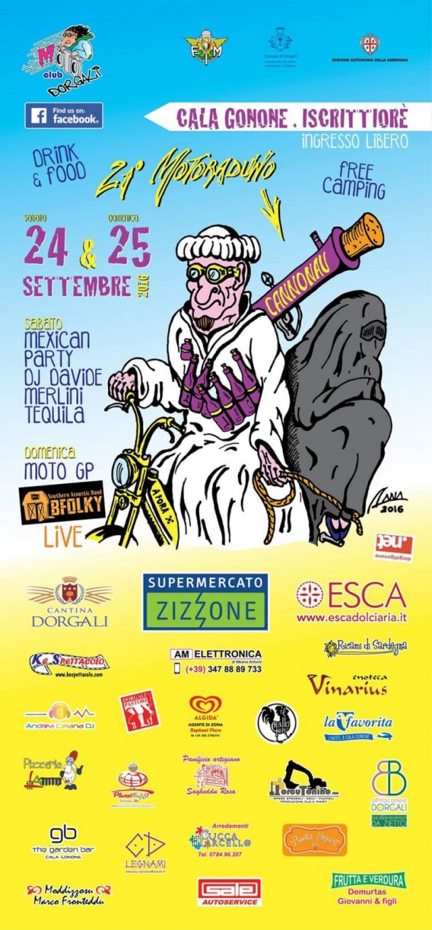 21° Motoraduno del Cannonau – 24 e 25 settembre 2016 Cala Gonone Dorgali